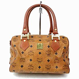 MCM Cognac Logo Monogram Visetos Boston 860676