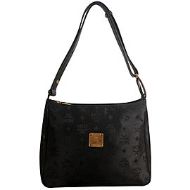 Mcm Hobo Monogram Visetos 869451 Black Nylon Shoulder Bag