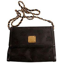 MCM Black Flap Jacquard Chain Cross Bag + Dust Bag 869454