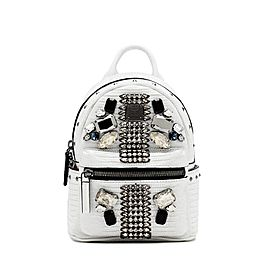 MCM Mini Swarovski Special 829mct15 White Leather Backpack
