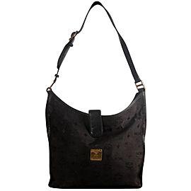Mcm Hobo Monogram Visetos 869325 Black Nylon Shoulder Bag