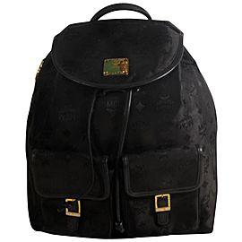 Mcm Monogram Visetos Jacquard Twin Pocket 869448 Black Nylon Backpack