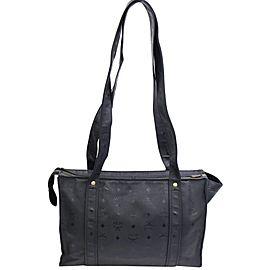 Mcm Monogram Visetos Shopper Tote 868203 Black Polyurethane Shoulder Bag