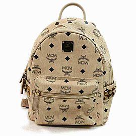 MCM Beige Monogram Visetos Stark Backpack Stud Mini Small 860165
