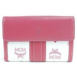 MCM 5MK0121 Pink White Monogram Visetos Wallet