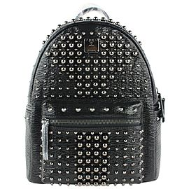 MCM Stark Pearl Stud 2mcz1016 Black Leather Backpack