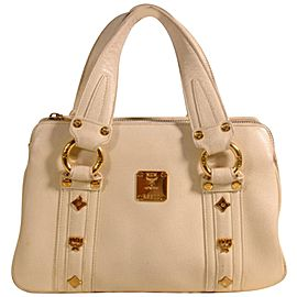 Mcm Studded Boston 869329 Beige Leather Tote