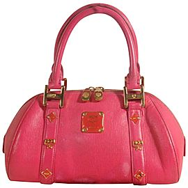 Mcm Studded Bowler 869070 Red Leather Tote