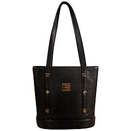 Mcm Bucket Studded 869331 Black Leather Tote