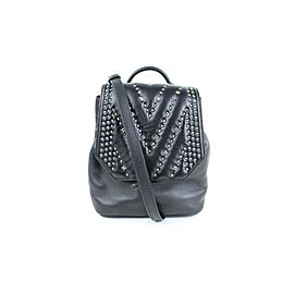 MCM Studded Diamond Disco Mini 2m915c Black Leather Backpack