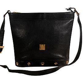 Mcm Messenger Studded 868827 Black Leather Cross Body Bag