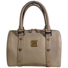 Mcm Studded Saffiano Boston 868498 Grey Leather Tote