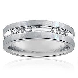 14K White Gold & Diamond Wedding Band