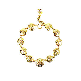 Chanel Gold Tone Quilted CC Medallion Necklace