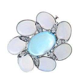 Faraone Mennella 18K White Gold Diamond Topaz Pin