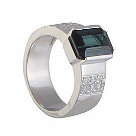 Platinum Diamond and Green Tourmaline Ring Size 6.25