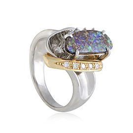 Platinum and 18K Yellow Gold with 0.15ct Diamond and 2.15ct Green Opal Ring Size 7