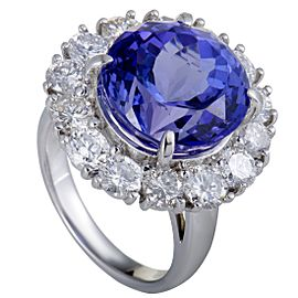 950 Platinum with 3.12ct. Diamond and 12.50ct. Tanzanite Cocktail Ring Size 6.5
