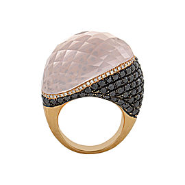 French Collection 18K Rose Gold Pink Quartz Multi-Diamond Ring