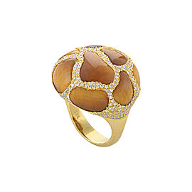 18K Yellow Gold Tiger's Eye Diamond Ring