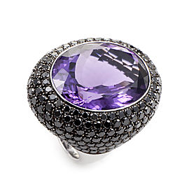 18K White Gold Amethyst & Diamond Cocktail Ring