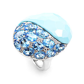 French Collection 18K White Gold Blue Gemstone Ring