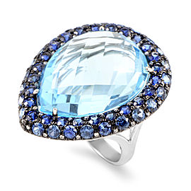 French Collection 18K White Gold Diamond & Blue Gemstone Ring