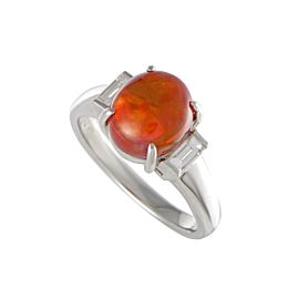 Platinum with 0.30ct Diamond and and 2.85ct Fire Opal Ring Size 7.5