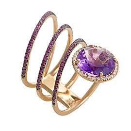 French Collection 18K Rose Gold Diamond Amethyst & Ruby Band Ring Size 7.5