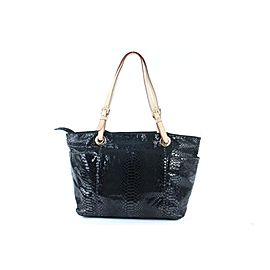 Michael Kors Embossed Pythong Jet Set 13mk0108 Black Patent Leather Tote