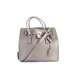 Michael Kors Hamilton North South 2way 7mr0308 Taupe Leather Satchel