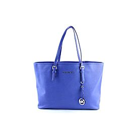 Michael Kors Jet Set Travel Top Zip Multifunction Tote 3mr0327 Blue Leather Shoulder Bag