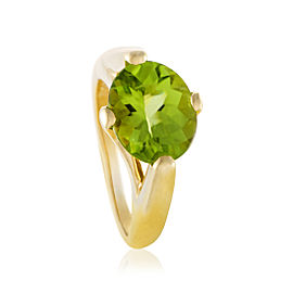 Mikimoto 18K Yellow Gold & Peridot Solitaire Ring Size 6.0