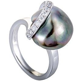 Mikimoto 925 Platinum with 0.15ct Diamond and Pearl Ring Size 4.75