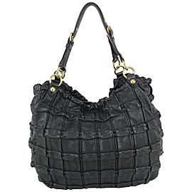 Miu Miu Black Leather Quilted Ruffle Hobo Bag 44miu722