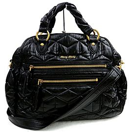 Miu Miu Quilted 2way Bowler 872555 Black Leather Satchel