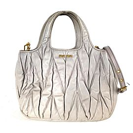 Miu Miu Quilted 2way Tote 20miu61 Grey-beige Lambskin Leather Shoulder Bag