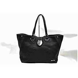 Miu Miu Black Leather Shopper Tote 860245
