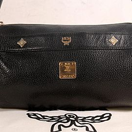 Miu Miu Studded Cyllinder Boston 868837 Black Leather Shoulder Bag
