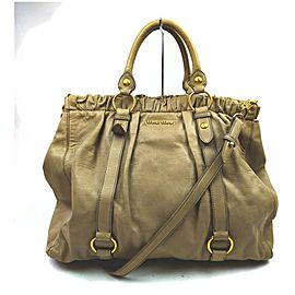 Miu Miu Beige x Brown Leather 2way Tote Bag 861528