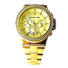 Michael Kors MK5386 44mm Chronograph Swarovski Glitz Gold Watch