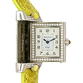 "Jaeger-LeCoultre Diamond ""Reverso Cabochon"" 18K White Gold Womens Watch"
