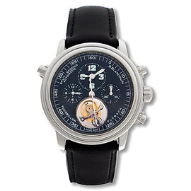 "Blancpain ""Léman Tourbillon"" Chronograph Rattrapante Platinum Mens Watch"