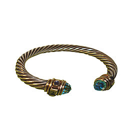 Classic David Yurman Blue Topaz and Peridot Cable Bracelet