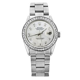 Rolex Datejust 1601 Oyster Stainless Steel Mother Of Pearl And Diamond Mens 36mm Watch