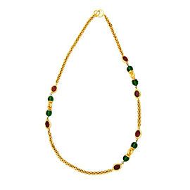 Chanel CC Logo Gold Tone Metal Chain Red Green Glass Stones Necklace Jewelry