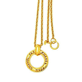 Chanel CC Logo Gold Tone Metal Hoop Pendant Necklace