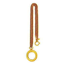 Chanel CC Logo Gold Tone Metal & Mirror Loupe Quilted Necklace