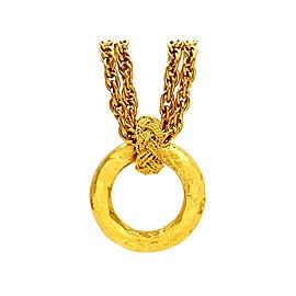 Chanel CC Logo Gold Tone Metal Hoop Dangle Necklace