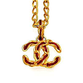 Chanel CC Logo Gold Tone Metal Red Line Necklace